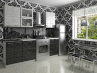 Гарнитур кухонный Соло Черный - Белый дождь 1800 мм
