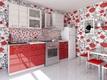 Кухня Соло Красный Белый дождь 1800 мм