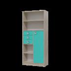 """Шкаф-стеллаж с дверкой и ящиками """"Сити"""" аква"""
