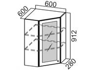 Шкаф навесной угловой со стеклом Ш600ус/912 Классика