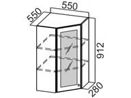Шкаф навесной угловой со стеклом Ш550ус/912 Классика