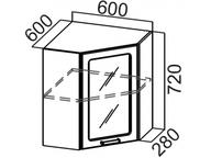 Шкаф навесной угловой со стеклом Ш600ус Прованс