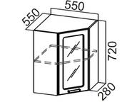 Шкаф навесной угловой со стеклом Ш550ус Прованс