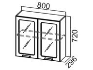 Шкаф навесной со стеклом Ш800с Волна