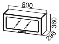 Шкаф навесной горизонтальный со стеклом ШГ800с Классика