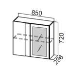 Шкаф навесной угловой со стеклом Ш850ус Классика