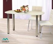 Стол обеденный овальный МДФ на метал опорах