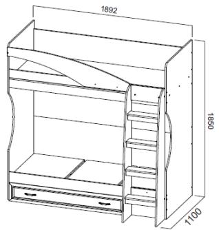 Кровать двухъярусная с ящиком ДМ-16 Вега