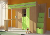 Детская Мийа кровать-чердак зелёный
