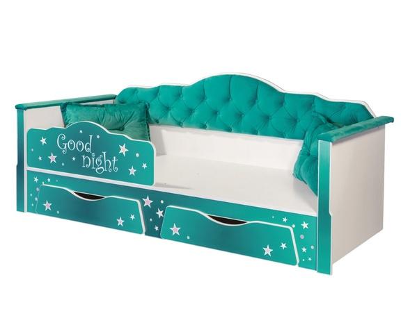Кровать одинарная Ноктюрн 01-34 бирюзовый
