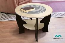 Стол со вставкой из стекла круглый