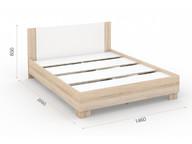 Кровать Аврора 140х200 основание ЛДСП Сонома/белый