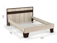 Кровать Эшли 140х200 без ламелей Венге/сонома