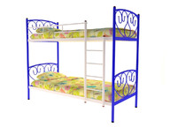 Кровать металлическая двухъярусная Злата синяя