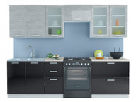 Кухня Равенна Стайл 2,6 м титан белый/титан черный