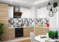 Кухня угловая Люкс белый глянец-Полонез сосна бран