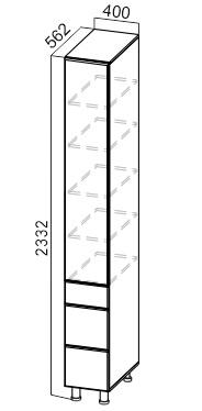 Пенал глухой с ящиками П400гя/2332 Классика
