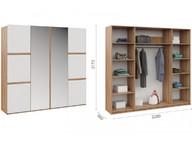 Распашной шкаф Дакота 4дв Сонома/белый глянец