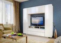 Стенка в гостиную Румба белый глянец