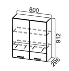 Шкаф навесной со стеклом Ш800с/912 Модус