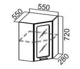 Шкаф навесной угловой со стеклом Ш550ус Классика