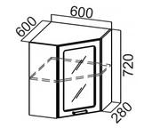 Шкаф навесной угловой со стеклом Ш600ус Классика