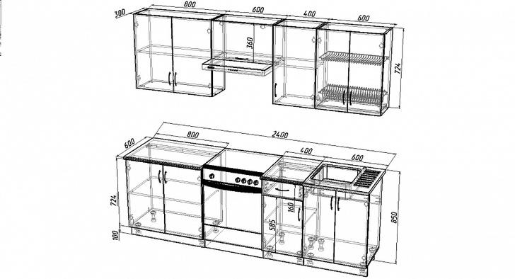 Кухонный гарнитур Роза-2400