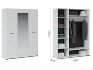 Шкаф 3-х дверный Йорк Белый жемчуг