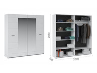Шкаф 4-х дверный Йорк Белый жемчуг