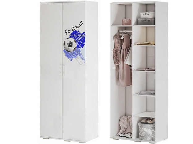 Шкаф для одежды ШК-09 Трио белый/король спорта
