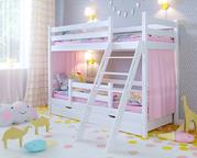 Двухъярусная кровать Сонечка с ящиками и бортиком