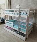 Двухъярусная кровать Сонечка с ящиками и прямой лестницей