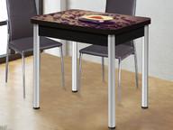 Стол раздвижной со стеклом Ника хром