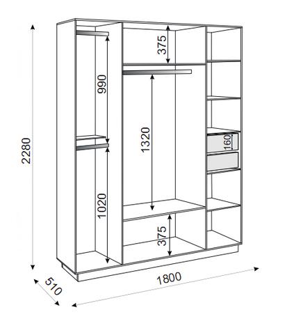 Шкаф 4-х створчатый М21 Тиффани