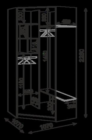 Шкаф угловой с зеркалами М35 Тиффани