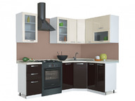 Угловая кухня Равенна Лофт 1,65х1,45 ваниль глянец/шоколад