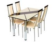 Стол обеденный со стеклом Маэстро