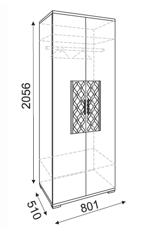 Шкаф двухдверный Тиффани модуль 1
