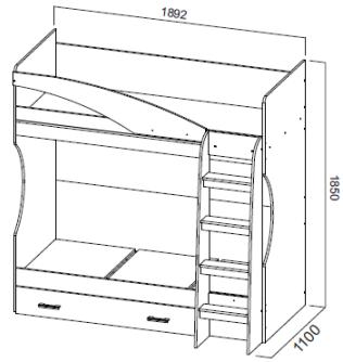 Двухъярусная кровать с ящиком Город